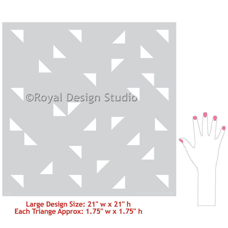 Cute Kids Room or Nursery Wall Decor Decorated with Geometric Triangle Wall Stencils - Royal Design Studio