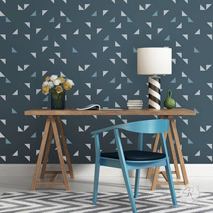 Painting Modern Triangle Shapes in Cute Pattern on Accent Wall - Geometric Wall Stencils - Royal Design Studio