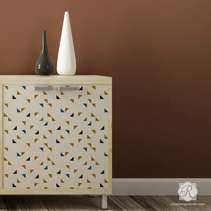 Modern Geometric Triangle Shapes Painted on Dresser Drawers with Cute Furniture Stencils - Royal Design Studio