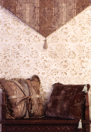 Paint a Floral Pattern in Your Home - Allover Brocade Flowers Wall Stencils for Stenciled Bedroom and Living Room Accent Walls with Flower Patterns - Royal Design Studio