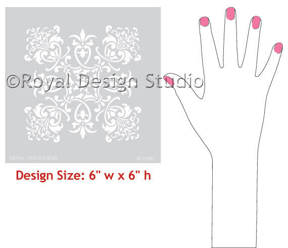 Large Tile Wall Stencils - Florence Tile Stencils - Royal Design Studio - Stencils for Crafting