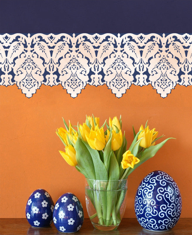 Turkish Designs Lace Border Wall Stencils - Royal Design Studio