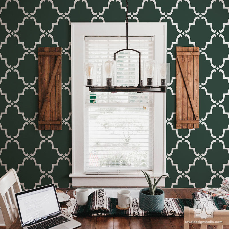 Large Trellis Wallpaper Wall Pattern for Painting - Moorish Moroccan Trellis Wall Stencils from Royal Design Studio DIY Decorating