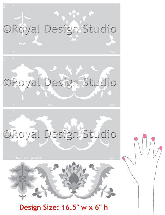 Sultan's Border Turkish, Indian, Moroccan Stencils - Royal Design Studio
