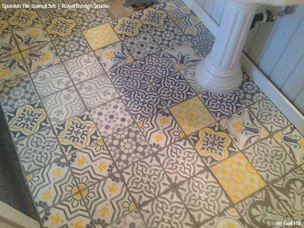 Colorful Yellow and Gray Bathroom Vinyl Linoleum Tile Floor Stencils - Royal Design Studio