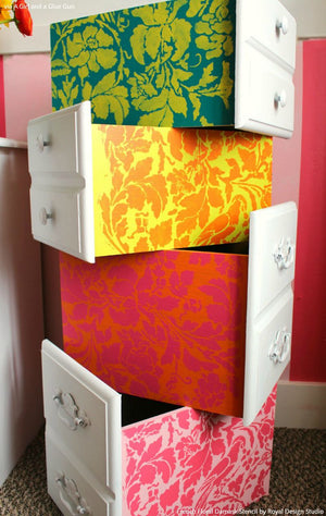 Cute Colorful Girls Room or Dorm Decor Ideas - Painted Dresser Drawers with French Floral Damask Stencils - Royal Design Studio
