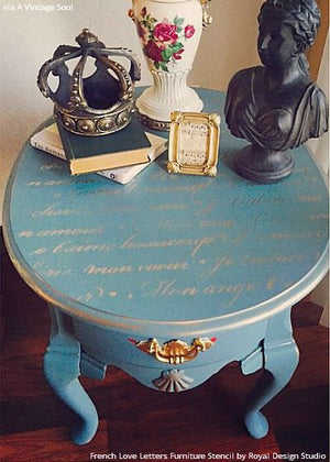 Designer Blue Side Table DIY Project Paitned with French Love Letters Furniture Stencils - Royal Design Studio