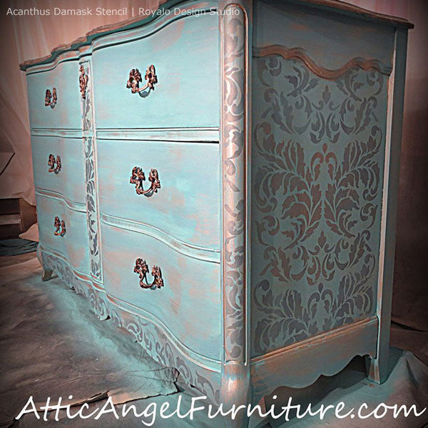 Elegant Blue Painted Dresser Drawers with Classic Damask Stenciled Pattern - Acanthus Damask Stencil for Painting Elegant Accent Walls - Royal Design Studio