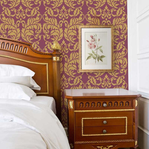 Large Damask Wallpaper Pattern Stencils   Acanthus Damask Stencil For  Painting Elegant Accent Walls   Royal