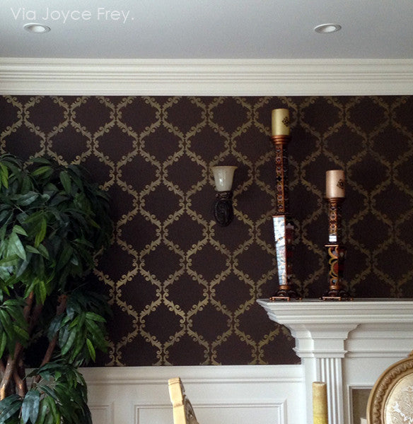 Dark Elegant Dining Room Makeover - Acanthus Trellis Wall Stencils - Wall Painting Stencils with Damask Wallpaper Pattern - Royal Design Studio