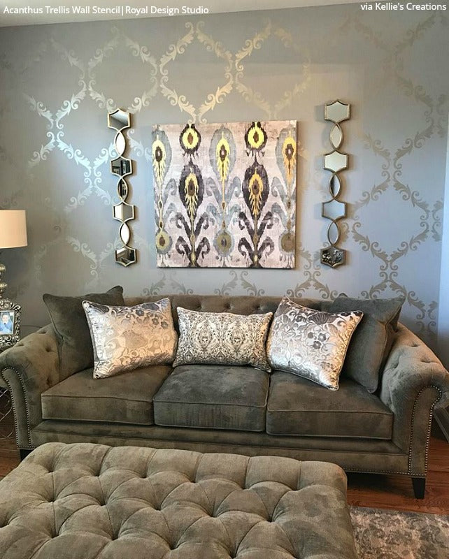 Large Trellis Wall Stencil | Acanthus Damask Wall Stencil for DIY Wallpaper