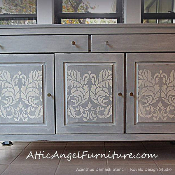 Classic Damask Pattern Furniture Stencils - Acanthus Damask Stencil for Painting Elegant Accent Walls - Royal Design Studio