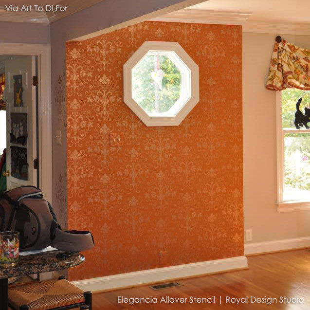 Bold and Colorful Damask Stencils - Elegant Allover Wall Stencils for Stenciling Wall Decor Art and Accent Walls - Royal Design Studio