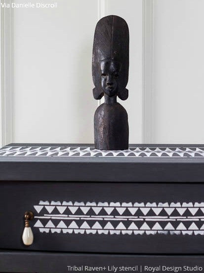 Bold Tribal Home Decor Painted with Furniture Stencils - Royal Design Studio