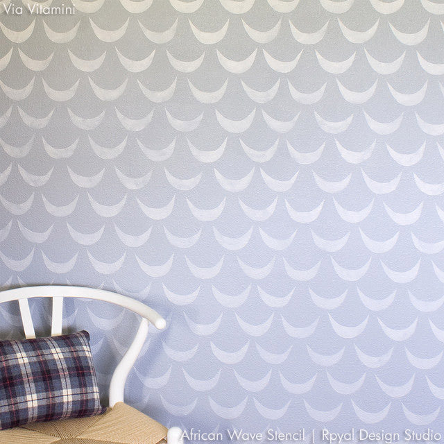 Modern Wallpaper Look Using African Wave Wall Stencils