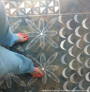 Moroccan Design Painted Concrete Floors Tribal Stencils - Royal Design Studio