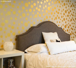 Gold Metallic Accent Wall Stenciled with Tribal Pattern - Uzma Circles Wall Stencils - Royal Design Studio
