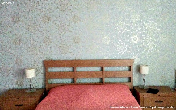Metallic Accent Wall in Bedroom Makeover - Kimono Allover Flower Stencils - Royal Design Studio