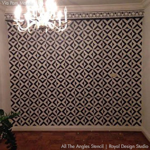 Bold and Geometric Home Decor - Black and White Wall Stencils