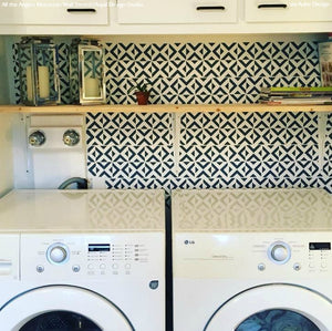 Black and White Geometric Wallpaper Laundry Room Wall Stencils - Royal Design Studio