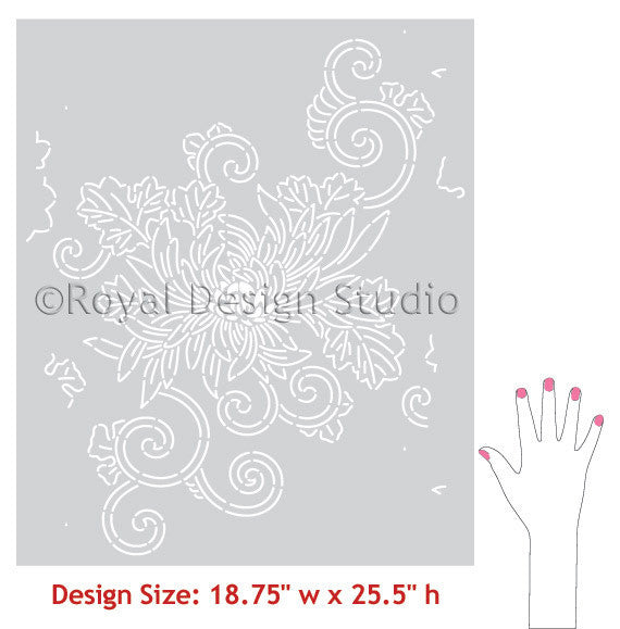 Chrysanthemum Flower Wall Stencils by Royal Design Studio