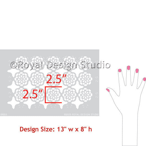 Margarita Lace Furniture Stencils for Exotic Designs - Royal Design Studio