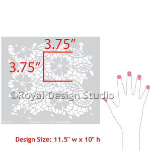 Furniture Lace Stencil Fleur de Lace Furniture Stencils for Painting Dressers and Table Tops - Royal Design Studio Stencils