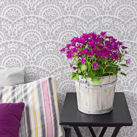 Spanish Lace Scallop Wallpaper Wall Stencils for Painting Accent Wall - Royal Design Studio
