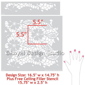 Paint Your Own DIY Wallpaper Pattern using Fleur de Lace Wall Stencils