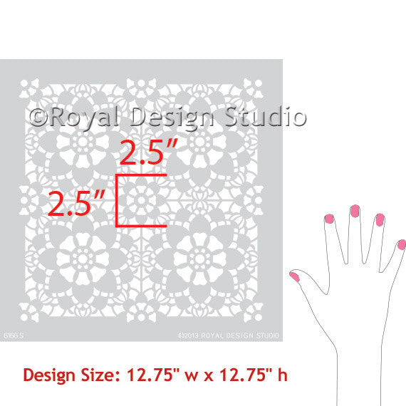 Cute Kids Room and Girls Room Decor Ideas - Snowflake Lace Wall Stencils - Royal Design Studio
