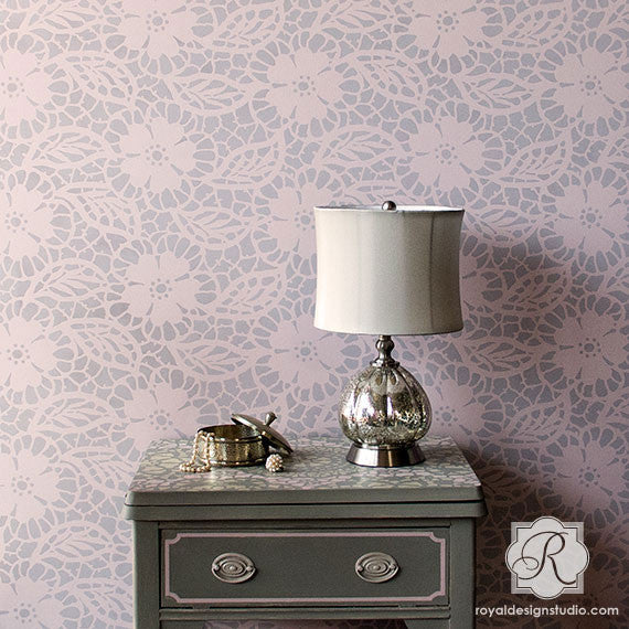 Wallpaper Lace Stencil Fleur de Lace Wall Stencils for Painting Romantic Lacy Home Decor Projects - Royal Design Studio Stencils