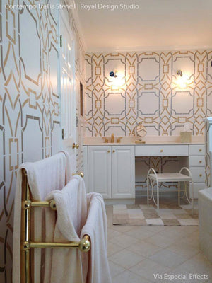 Modern Home Decor with Geometric Shapes and Clean Lines - Contempo Trellis Wall Stencils for Painting - Royal Design Studio