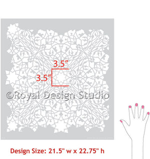 Toubkal Moroccan Lace Wall Stencils - Royal Design Studio