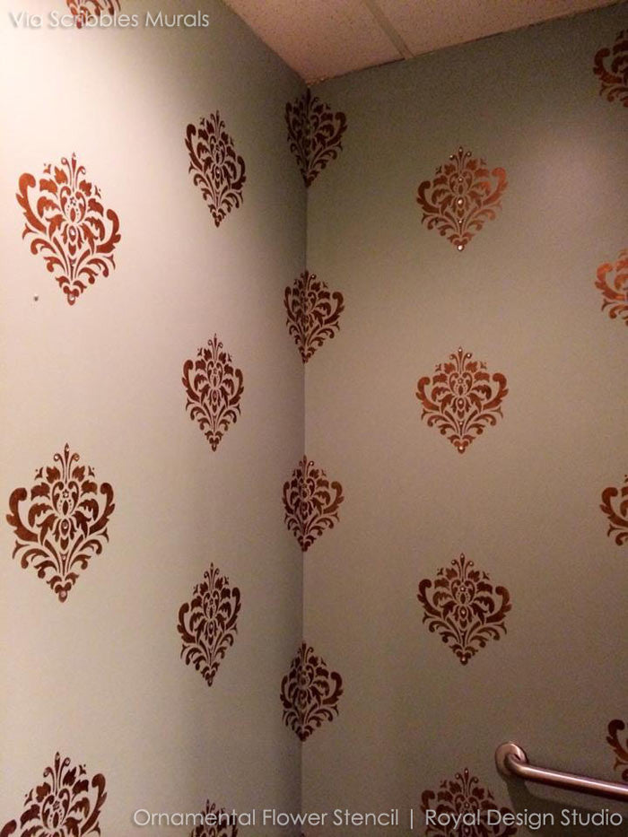 Wall Stencil | Ornamental Flower Wall Stencil | Royal Design