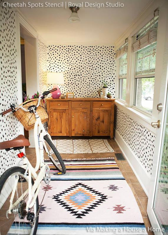 Decorating an Entry Way or Foyer - Animal Print Cheetah Leapord Spots Wall Stencil Painted in Mudroom, Foyer, Entry - Royal Design Studio