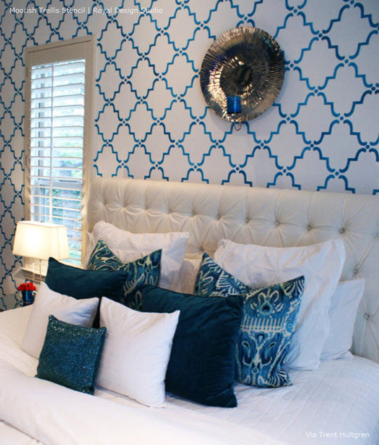 White and Blue Bedroom Decor - Moorish Trellis Allover Accent Wall Stencils