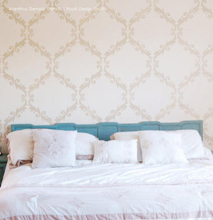 Bedroom Makeover using Acanthus Trellis Wall Stencils - Wall Painting Stencils with Damask Wallpaper Pattern - Royal Design Studio