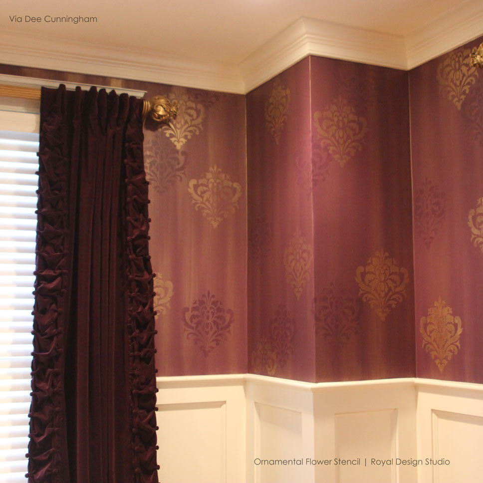 Wall stencil ornamental flower wall stencil royal design decorative and ornamental flower wall stencils for painting classic designs royal design studio amipublicfo Images