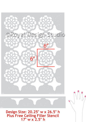 Colorful and Exotic Lace Allover Wall Stencils for Painting DIY Wallpaper - Royal Design Stuio
