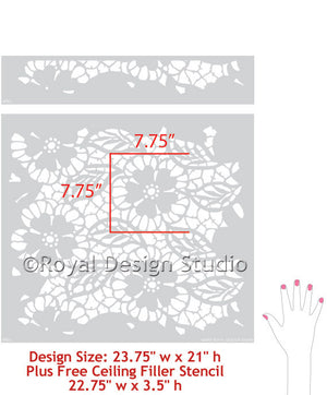 Lace Flower Designs to Paint on Accent Walls
