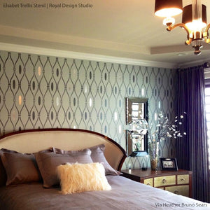 Modern Tribal Allover Trellis Wall Stencil | Elsebet Trellis | Raven+Lily Stencils | Royal Design Studio