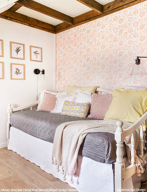 Vintage Farmhouse Bedroom Wall Stencils Floral Wallpaper - Royal Design Studio