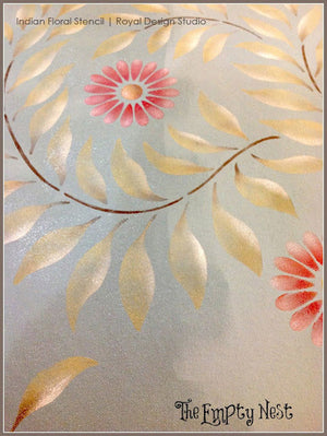 Decorate your Home with Indian Floral Wall Stencils for Swirl Flower Designs - Royal Design Studio