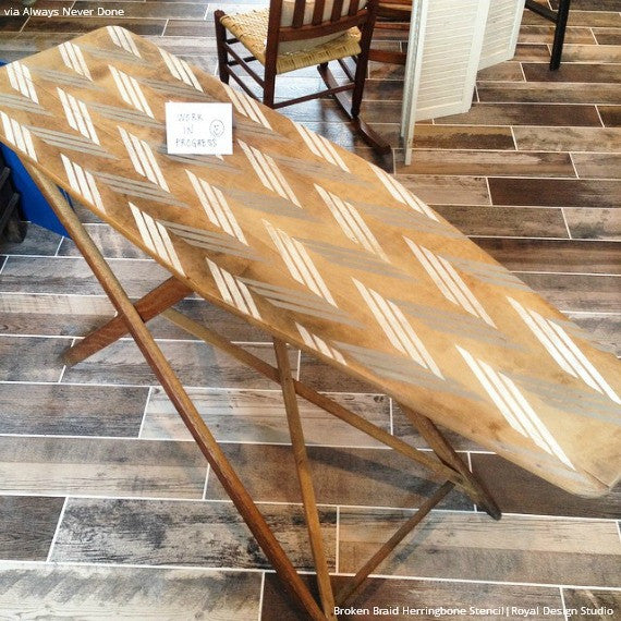 Stenciled Wood Furniture with Classic Designs - Broken Braid Herringbone Stencils - Royal Design Studio