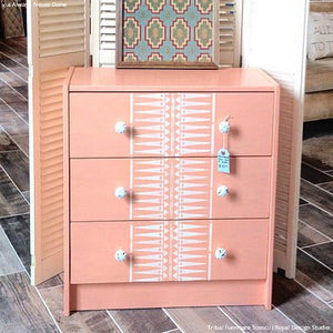 Stenciled Dresser Drawers with African Patterns - Tribal Furniture Stencils - Royal Design Studio
