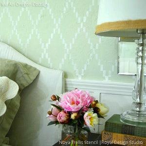 Beautiful Green Bedroom Accent Wall Makeover using Modern Harlequin Trellis Wall Stencils - Royal Design Studio