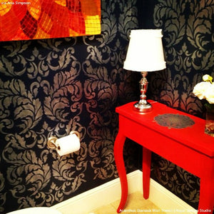 Black and Red Bold Room Makeover with Wall Stenciling - Acanthus Damask Wall Stencils - Royal Design Studio