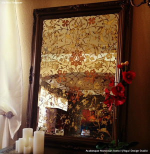 Stenciled Antique Mirror Projects with Floral Vine Patterns - Arabesque Moroccan Stencils - Royal Design Studio
