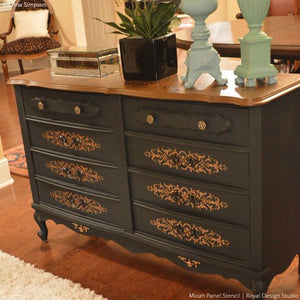 Painted Dresser DIY Idea with Pattern - Micah Panel Furniture Stencils - Royal Design Studio