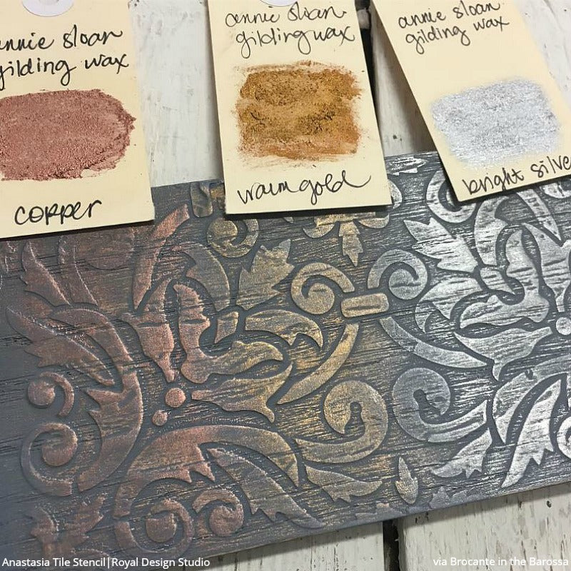 Anastasia Damask Tile Furniture Stencil